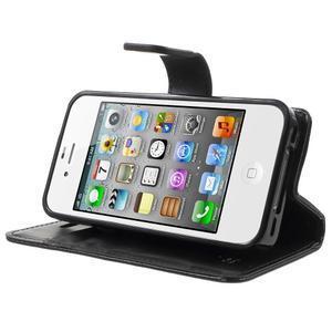 Moon PU kožené puzdro pre mobil iPhone 4 - čierne - 3