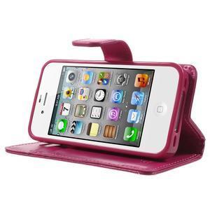 Moon PU kožené puzdro pre mobil iPhone 4 - rose - 3