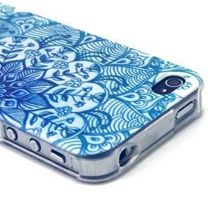 Emotive gélový obal pre mobil iPhone 4 - modrá mandala - 3