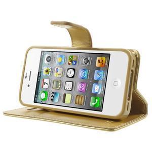 Moon PU kožené puzdro pre mobil iPhone 4 - zlaté - 3
