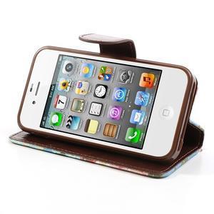 Elegantní PU kožené pouzdro na iPhone 4 - modré pozadí - 3