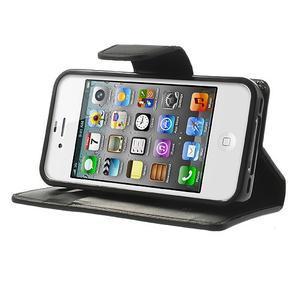 Diary PU kožené knížkové puzdro pre iPhone 4 - čierne - 3