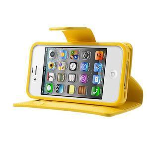 Diary PU kožené knížkové pouzdro na iPhone 4 - žluté - 3