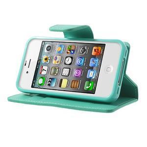 Diary PU kožené knížkové puzdro pre iPhone 4 - azurové - 3