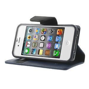 Diary PU kožené knížkové pouzdro na iPhone 4 - tmavěmodré - 3