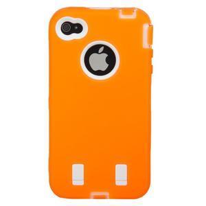Armor vysoce odolný obal pre iPhone 4 - oranžový - 3