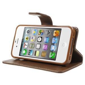 Moon PU kožené puzdro pre mobil iPhone 4 - hnedé - 3