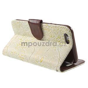 Elegantné kvetinové peňaženkové puzdro na iPhone 6 a 6s - biele - 3