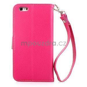 PU kožené peňaženkové puzdro pre iPhone 6s a 6 - rose - 3