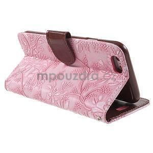 Elegantné kvetinové peňaženkové puzdro pre iPhone 6 a 6s - ružové - 3