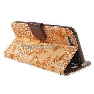 Elegantné kvetinové peňaženkové puzdro na iPhone 6 a 6s - oranžové - 3