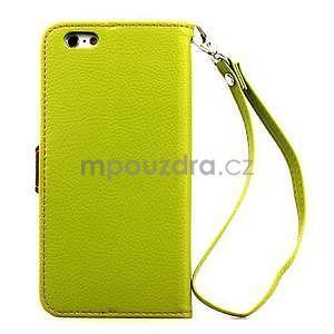 PU kožené peňaženkové puzdro pre iPhone 6s a 6 - zelene - 3