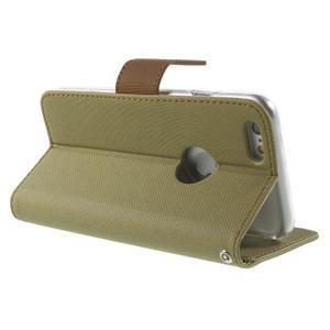 Peňaženkové koženkové puzdro na iPhone 6s a 6 - khaki - 3