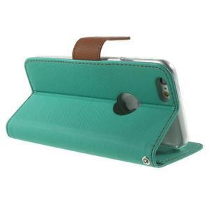 Peňaženkové koženkové puzdro na iPhone 6s a 6 - zelené - 3