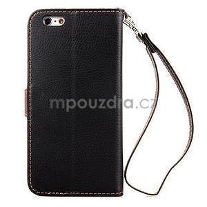 PU kožené peňaženkové puzdro pre iPhone 6s a 6 - čierne - 3