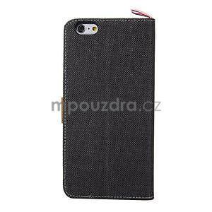 Látkové / koženkové peňaženkové puzdro na iphone 6s a 6 - čierne - 3