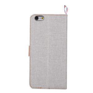 Látkové / koženkové peňaženkové puzdro pre iphone 6s a 6 - sivé - 3