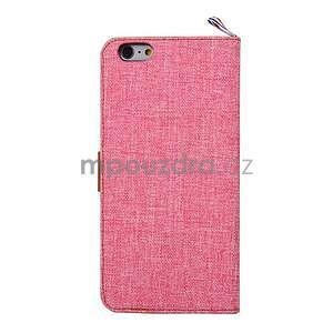Látkové / koženkové peňaženkové puzdro pre iphone 6s a 6 - ružové - 3