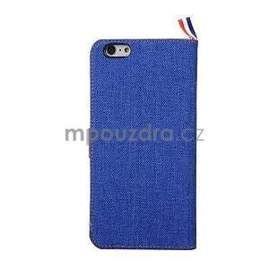 Látkové / koženkové peňaženkové puzdro pre iphone 6s a 6 - modré - 3
