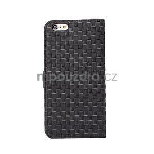 Mriežkovaného koženkové puzdro pre iPhone 6 a iPhone 6s - čierne - 3