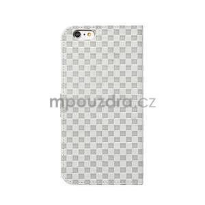 Mriežkovaného koženkové puzdro pre iPhone 6 a iPhone 6s - biele - 3