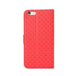 Mriežkovaného koženkové puzdro pre iPhone 6 a iPhone 6s - červené - 3