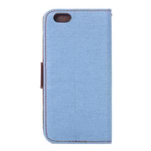 Jeans látkové/pu kožené peňaženkové puzdro na iPhone 6 a 6s - svetlomodré - 3