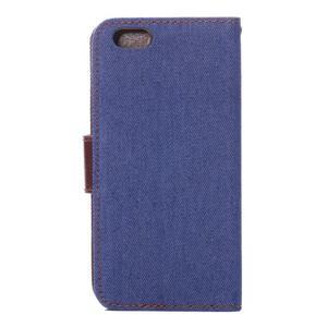 Jeans látkové/pu kožené peňaženkové puzdro pre iPhone 6 a 6s - modré - 3