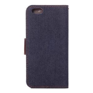 Jeans látkové/pu kožené peňaženkové puzdro na iPhone 6 a 6s - tmavomodré - 3
