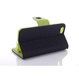 Dvojfarebné peňaženkové puzdro pre iPhone 6 a iPhone 6s - čierne/ zelené - 3