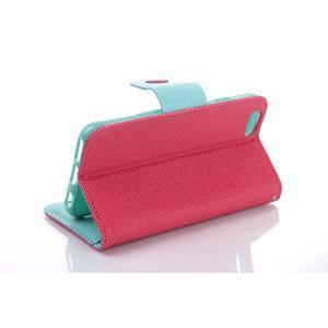 Dvojfarebné peňaženkové puzdro pre iPhone 6 a iPhone 6s - rose/cyan - 3
