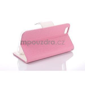 Dvojfarebné peňaženkové puzdro pre iPhone 6 a iPhone 6s - ružové/biele - 3