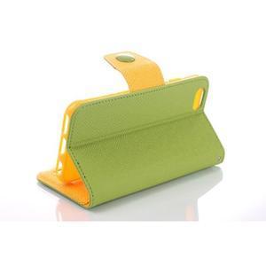 Dvojfarebné peňaženkové puzdro pre iPhone 6 a iPhone 6s - zelené/ žlté - 3