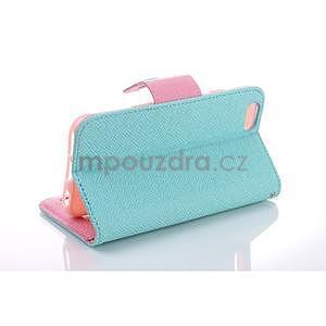 Dvojfarebné peňaženkové puzdro pre iPhone 6 a iPhone 6s - cyan/ružové - 3