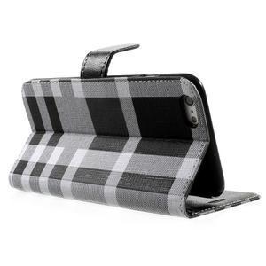 Kárované peňaženkové puzdro na iPhone 6 Plus a 6s Plus - čiernobiele - 3