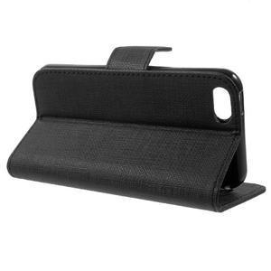 Cloth PU kožené puzdro pre iPhone SE / 5s / 5 - čierne - 3