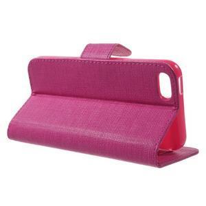 Cloth PU kožené pouzdro na iPhone SE / 5s / 5 - rose - 3