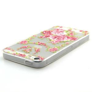Transparentný gélový obal pre mobil iPhone SE / 5s / 5 - ruže - 3