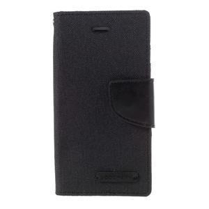 Canvas PU kožené/textilní pouzdro na mobil iPhone SE / 5s / 5 - černé - 3