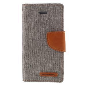 Canvas PU kožené/textilní pouzdro na mobil iPhone SE / 5s / 5 - šedé - 3