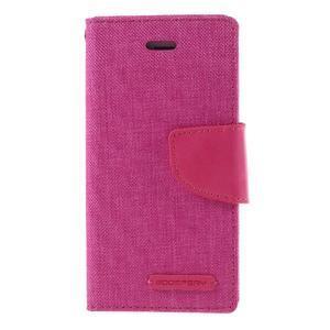 Canvas PU kožené/textilní pouzdro na mobil iPhone SE / 5s / 5 - rose - 3