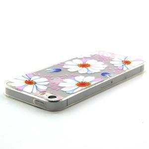 Transparentný gélový obal pre mobil iPhone SE / 5s / 5 - kvetinky - 3