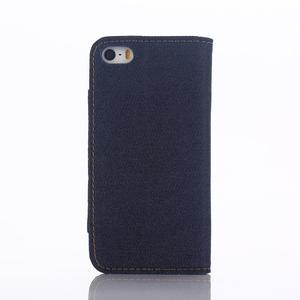 Jeans peňaženkové puzdro pre mobil iPhone SE / 5s / 5 - tmavomodré - 3
