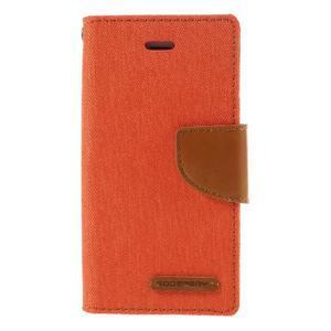 Canvas PU kožené/textilní pouzdro na mobil iPhone SE / 5s / 5 - oranžové - 3