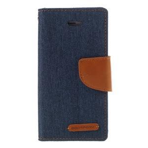 Canvas PU kožené/textilné puzdro pre mobil iPhone SE / 5s / 5 - tmavomodré - 3
