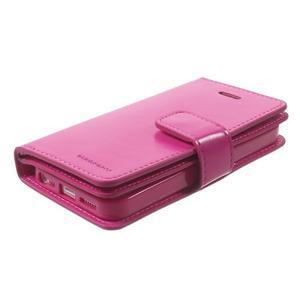 Extrarich PU kožené puzdro pre iPhone SE / 5s / 5 - magneta - 3
