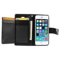 Rich diary PU kožené pouzdro na iPhone SE / 5s / 5 - černé - 3/7