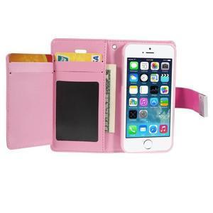 Rich diary PU kožené pouzdro na iPhone SE / 5s / 5 - rose - 3