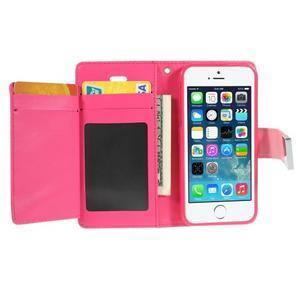Rich diary PU kožené puzdro pre iPhone SE / 5s / 5 - ružové - 3