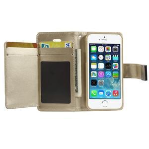 Rich diary PU kožené pouzdro na iPhone SE / 5s / 5 - zlaté - 3